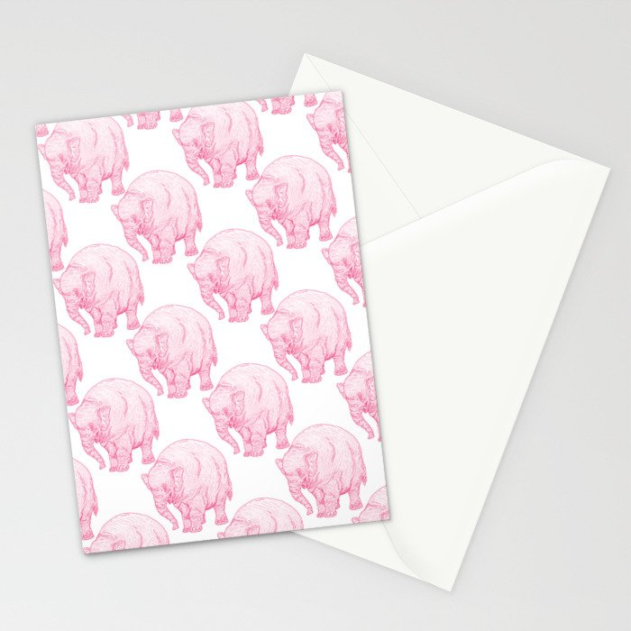 Pink Elephant Stationery Cards