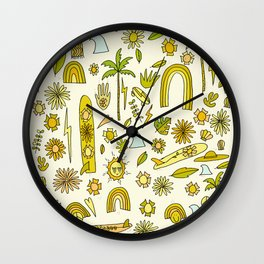 doodle daydreams sunshine and good vibes // retro art by surfy birdy Wall Clock