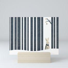 Winter Scene with Rabbit (Chasing the White Rabbit) Mini Art Print