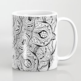 Lacy Flames Mandala in Black and White Coffee Mug