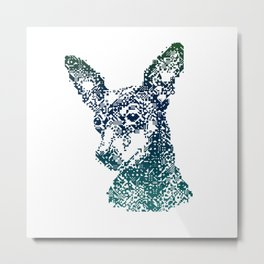 Min Pin Blue Mosaic Metal Print