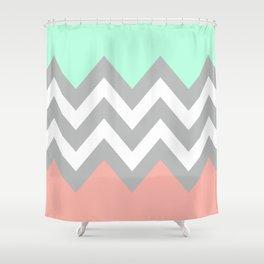 DOUBLE COLORBLOCK CHEVRON {MINT/CORAL/GRAY} Shower Curtain