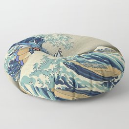 The Great Wave Off Gyarados Floor Pillow