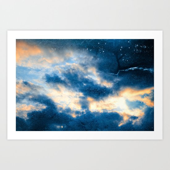 Celestial Grunge Clouds Art Print