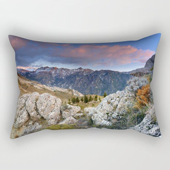 """""""Mountain Light"""". Sunset at the Alayos. Rectangular Pillow"""