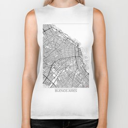 Buenos Aires Map White Biker Tank