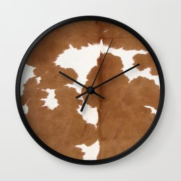 Tan and white cowhide texture Wall Clock