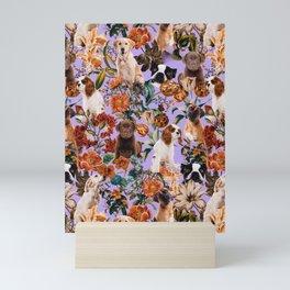 Dog and Floral Pattern Mini Art Print