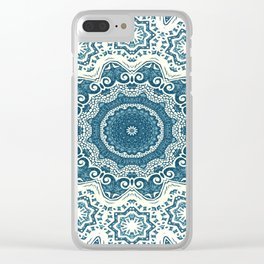 Creamy and blue mandala pattern Clear iPhone Case