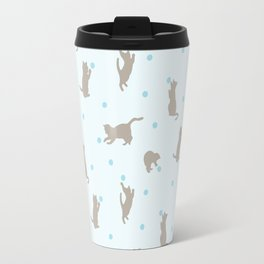 Polka Dot Cats in Blue Travel Mug