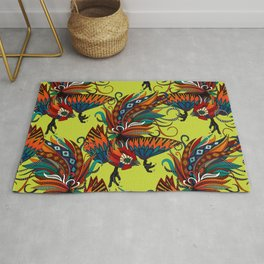 rooster ink chartreuse Rug