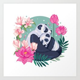 Panda Hugs Art Print