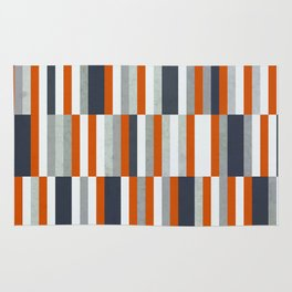Orange, Navy Blue, Gray / Grey Stripes, Abstract Nautical Maritime Design by Rug
