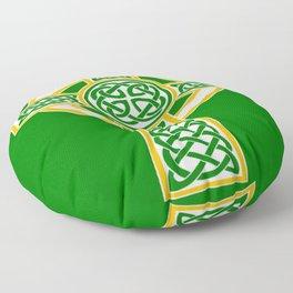 St Patrick's Day Celtic Cross White and Green Floor Pillow
