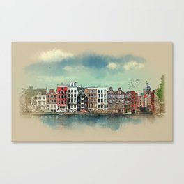 Embankments of Amsterdam. The Netherlands. Canvas Print