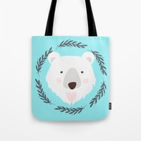 polar bear Tote Bags featuring polar bear by Taranta Babu