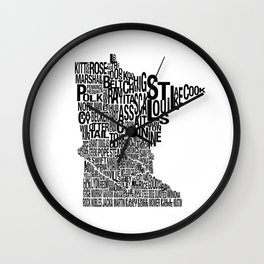 Minnesota Counties Map Wall Clock