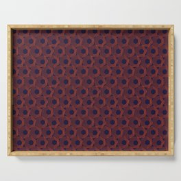 Hexagonal Abstract Pattern (Orange Red // Russian Violet) Serving Tray