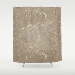 Coral Marble Gold Mine Shower Curtain