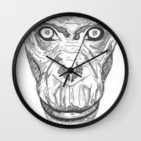ape Wall Clocks featuring Ape by Eugene Lee