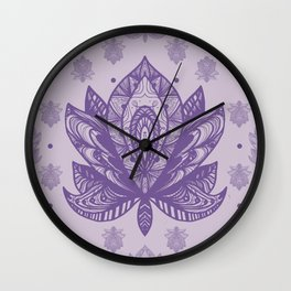 Gentle Pastel Purple  Lotus Flower Wall Clock
