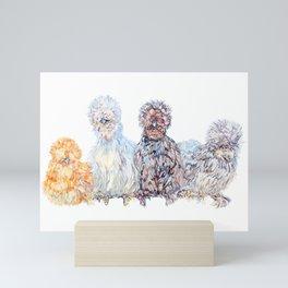 Silkie Chicken Huddle Mini Art Print