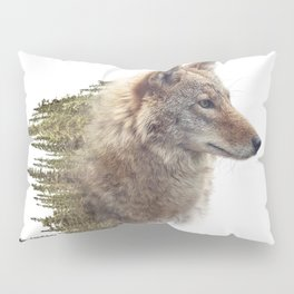 Double exposure of coyote portrait and pine forest on white background Pillow Sham