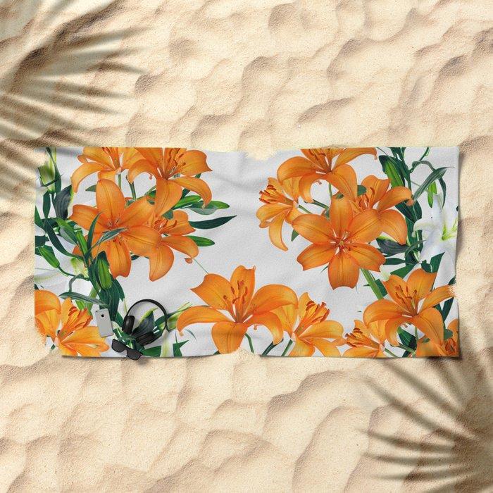 Glorious Lilies Beach Towel