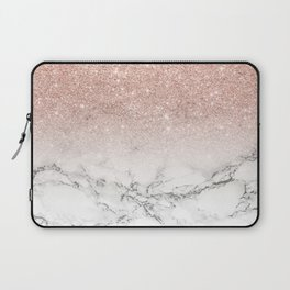Modern faux rose gold pink glitter ombre white marble Laptop Sleeve