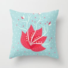 Exotic Winter Flower Throw Pillow