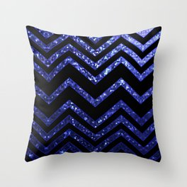 ZigZag Blue Sparkley G193 Throw Pillow