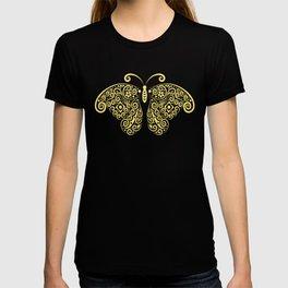 Cool Golden Butterfly Floral Pattern Artwork T-shirt