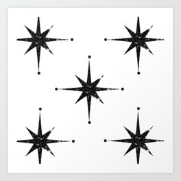 black 8 point stars Art Print
