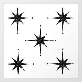black 8 point stars Art Print