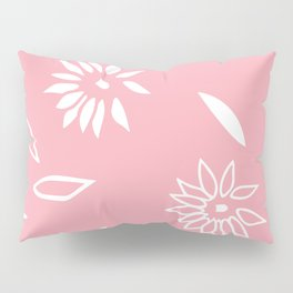 Powder Pink Floral Shapes 2 Pillow Sham