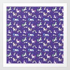 Unicorns and Rainbows - purple -tiny Art Print
