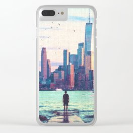 New York City Skyline and Birds Clear iPhone Case