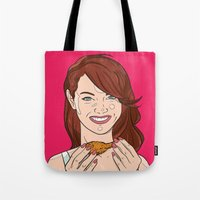 emma stone Tote Bags featuring Emma Stone With Fried Chicken by Jason Adams
