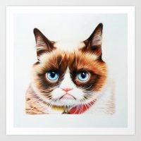 grumpy Art Prints featuring grumpy by AngelaArt