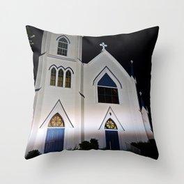 Church under the Lights Throw Pillow