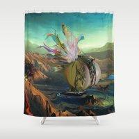 archan nair Shower Curtains featuring Dua:Talum by Archan Nair