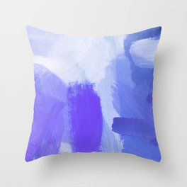splash painting texture abstract background in blue and purple Throw Pillow