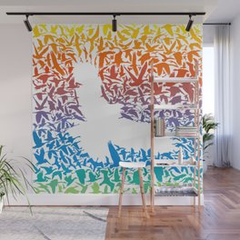 Abstract rainbow predator bird and its prey Wall Mural