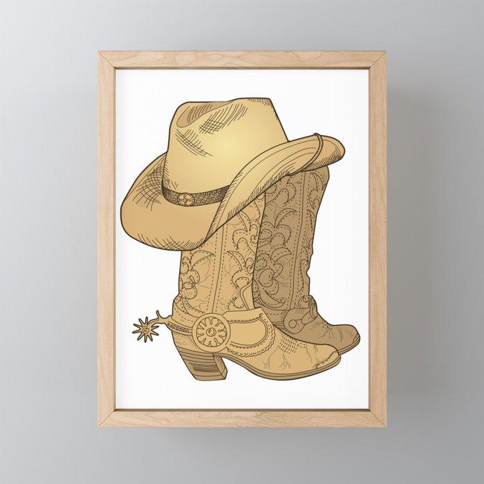 9caabb2f89e Vintage Retro Cowboy Hat Cowboy Boots Gift Framed Mini Art Print by  mintedfresh