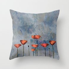Poppyfield against the blue sky- abstract watercolor artwork Throw Pillow