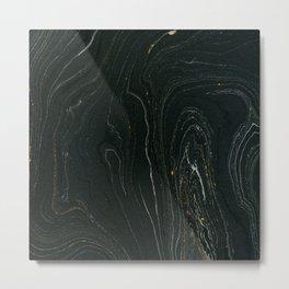 Black marble Metal Print