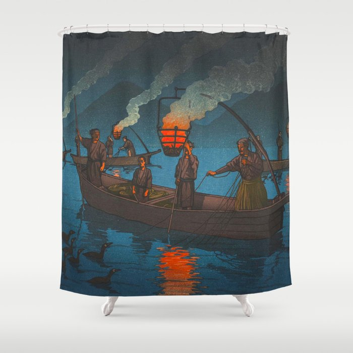 Beautiful Vintage Japanese Woodblock Print Japanese Fisherman Flame Torch Shower Curtain