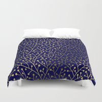 navy Duvet Covers featuring Gold Berry Branches on Navy by Cat Coquillette