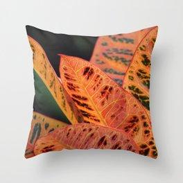 Orange Croton Leaves Throw Pillow