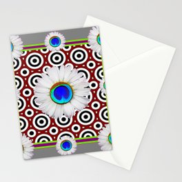 Blue Fantasy Floral Peacock Art Grey Pattern Stationery Cards